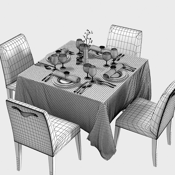 square restaurant table 3d model