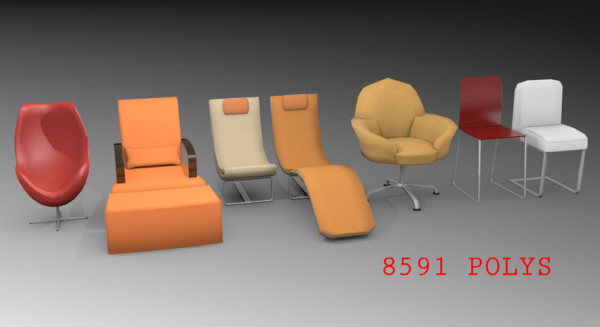 pack 7 chairs obj - 7 modern chairs pack... by TotexArtz