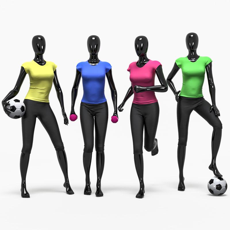 set female sport 3D model