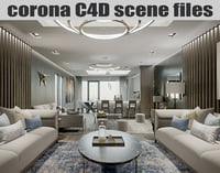 Corona Cinema 4D Scene files - London Luxury Interior