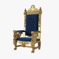 Carved King Winged Lion Gothic Throne Chair