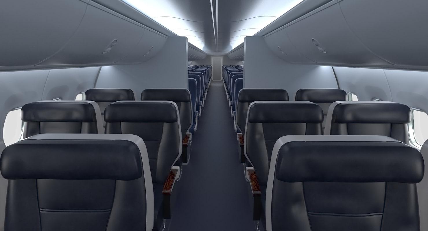 3d Model Boeing 737 Passenger Cabin Turbosquid 1190170