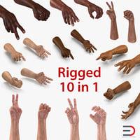 rigged man hands 3D model