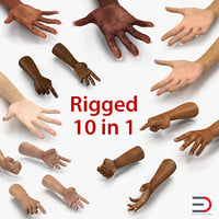 3D hands rigged