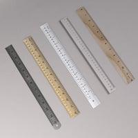 ruler metal inches 3D model