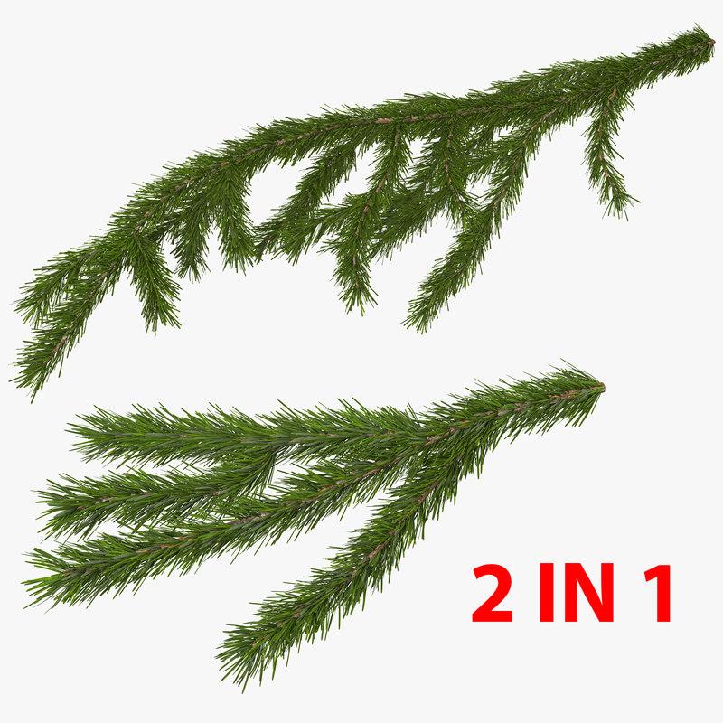 3D christmas fir branch