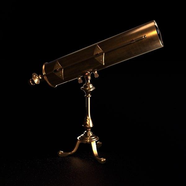 antique telescope 3D model