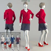 3D lacoste woman mannequin pose