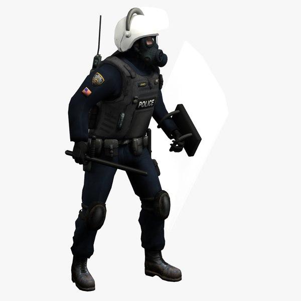 riot police officer rigged 3d model