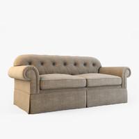 sofa modeled fabric 3d model