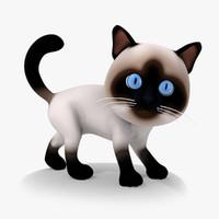 Rigged Cartoon Cat 01 Siamese Kitty