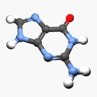 nucleobase guanine dna 3d model