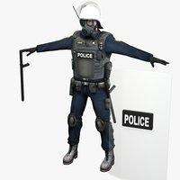 riot police officer 3d max