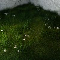 3d green grass small flowers
