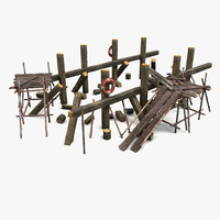 3d model wooden wood support
