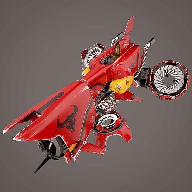 fantasy flying vehicle - 3d model