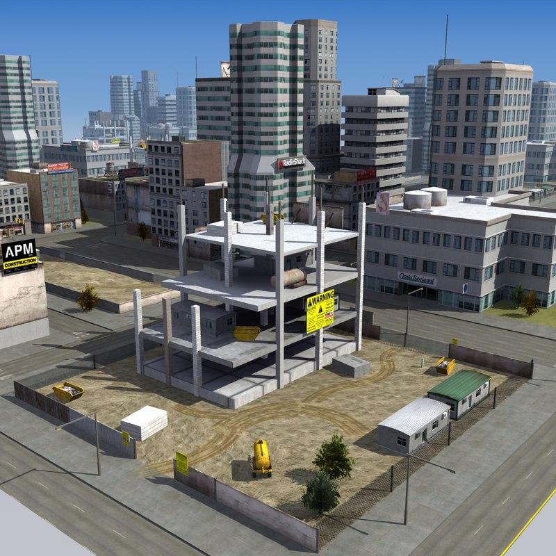 3d downtown construction site city block model
