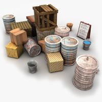 Junk Metal Barrels Wooden Crates