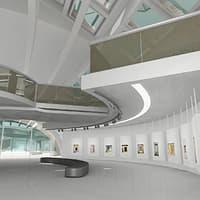 modern art gallery scene 3d 3ds