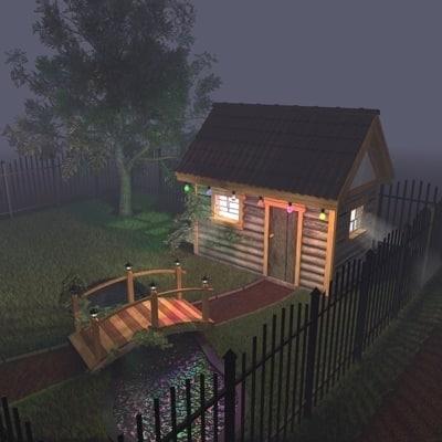 cinema4d scene log cabin