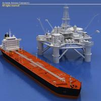 3ds max oil platform tanker ship
