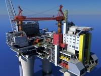 oil gas platform 3d x