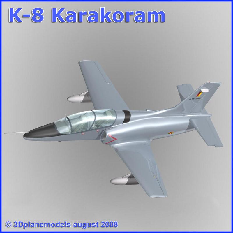 training jet k-8 karakorum 3d model