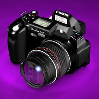 canon powershot digital camera 3d model