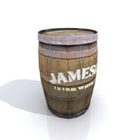 old whiskey barrel 3d model