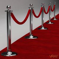 velvet roped stanchions red carpet 3d model