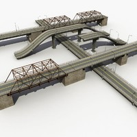 bridge road highway 3d model