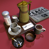 coffee tray 01 3d model