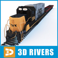 train seaport freight 3d model