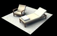 3d sun lounger chair model