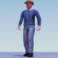 cowboy rigged 3d model
