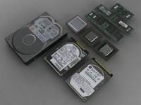 3d old computer components model
