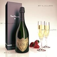 bottle champagne dom perignon 3d max