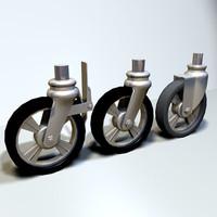 3d model caster wheel scaffold 01