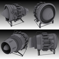3d hi-poly jet engine