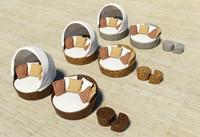furnitures meshwork rattan 3d model