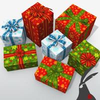 gift boxes set 3d model