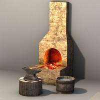 3d blacksmith prop set model