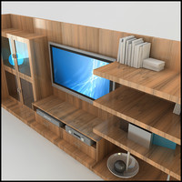 modern tv wall unit 3d model