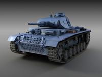 german tank panzer iii 3d model