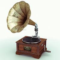 retro gramophone 3d model