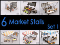 Market Stall Set, Low Poly, Textured
