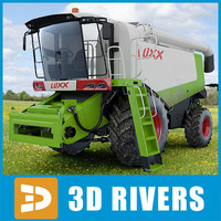 3d agricultural harvesting combine model