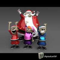 3d model santa claus elves