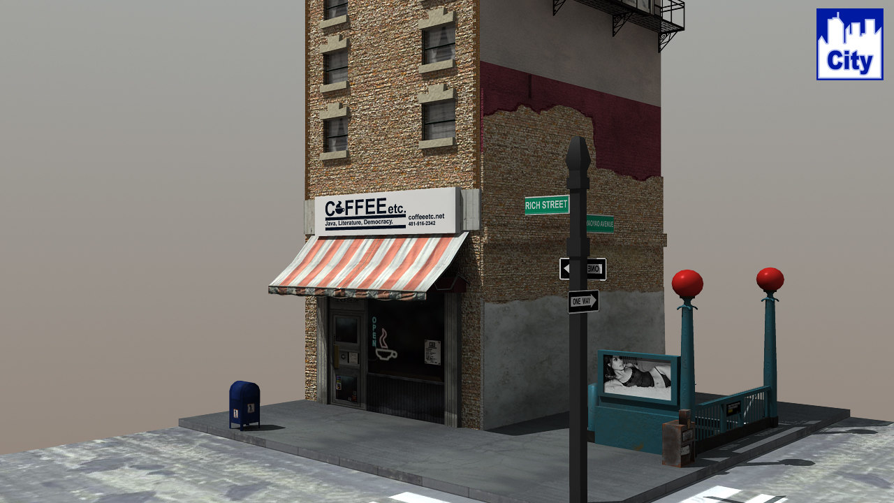 3d cafe subway city streets model