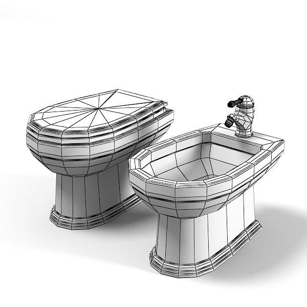 classic toilet bidet 3d model on Model Toilet Design  id=61450